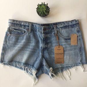 Lucky Brand The Cutoff Frayed Denim Shorts Terry